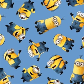 Despicable Me 1 In a Minion Tossed Minions On Blue Cotton Fabric