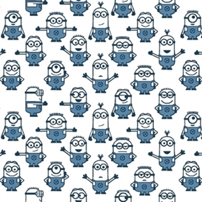 Picture of Despicable Me 1 In A Minion Blue Minions on White Cotton Fabric