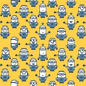 Despicable Me 1 In A Minion Blue Minions on Yellow Cotton Fabric