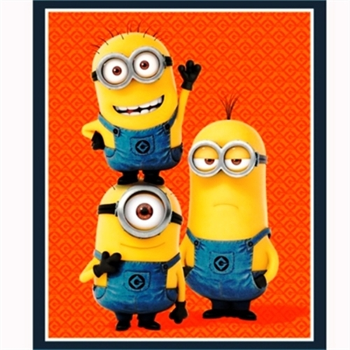 Despicable Me 1 In A Minion Three Minions Large Cotton Fabric Panel