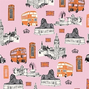 British Invasion UK London Destinations Big Ben Cotton Fabric