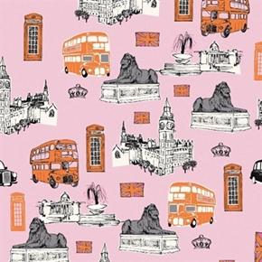 British Invasion UK London Destinations Big Ben Cotton Fabric