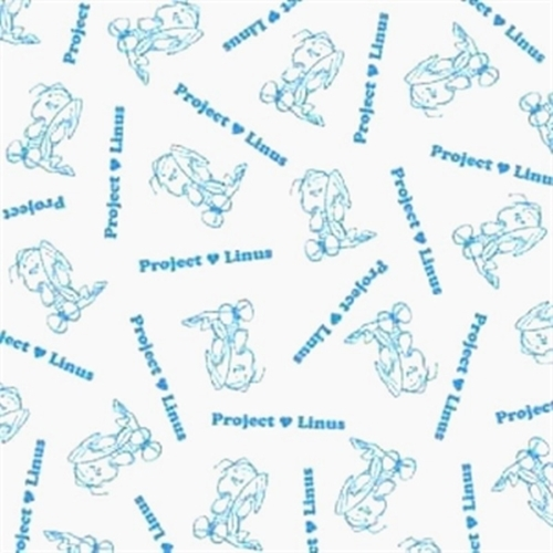 Project Linus Linus With Blanket Blue On White Toile Cotton Fabric