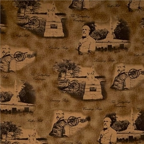 Picture of Gettysburg Generals and Cannons on Brown Cotton Fabric