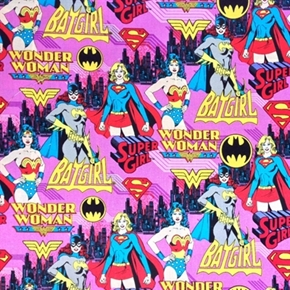 Girl Power Dc Comics Female Superhero Wonder Woman Pink Cotton Fabric