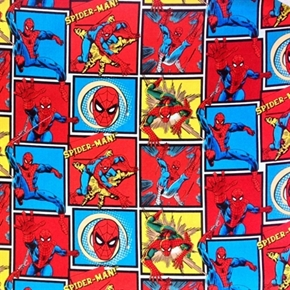 Amazing Spiderman in Squares Marvel Comics Cotton Fabric