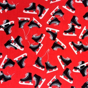 Picture of Ice Skates Pairs of Black Skates on Red Cotton Fabric