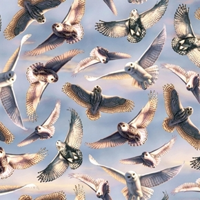 Silent Flight Owls in Flight Flying in the Sky Cotton Fabric