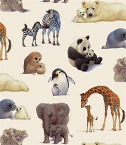 Picture of Animal Friends Mother and Baby Farm Animals Cream Cotton Fabric
