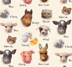 Picture of Animal Friends Baby Farm Animals Animal Sounds Cream Cotton Fabric