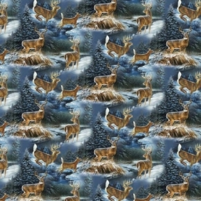 Wild Wings Wintergreen Scenic Deer In Snow Cotton Fabric