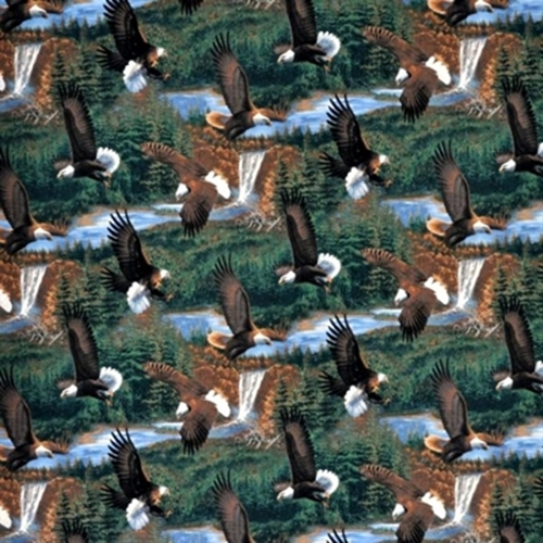 Wild Wings Somerset Point Bald Eagles Scenic Cotton Fabric