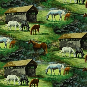 Wild Wings Sweetwater Bridge Scenic Horses Cotton Fabric