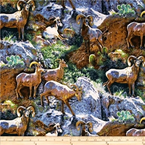 Wild Wings Rocky Grandeur Rams On Rocks Cotton Fabric