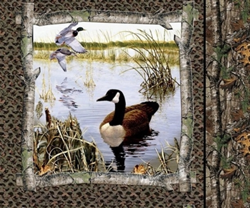 Cotton Pillow Panel Animal Fabric Realtree Hunting Camo Geese