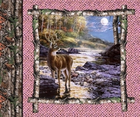 Picture of Realtree Hunting Pink Deer Buck in Stream Cotton Fabric Pillow Panel