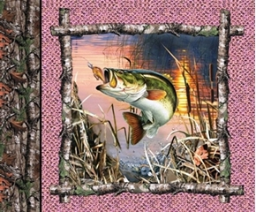 Realtree Hunting Pink Fish Fishing Cotton Fabric Pillow Panel