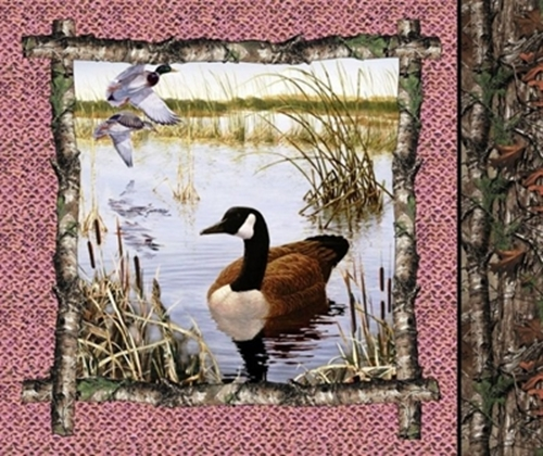 Realtree Hunting Pink Geese Canadian Goose Cotton Fabric Pillow Panel