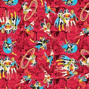 Girl Power Ii Comics Batgirl Supergirl Wonder Woman Red Cotton Fabric