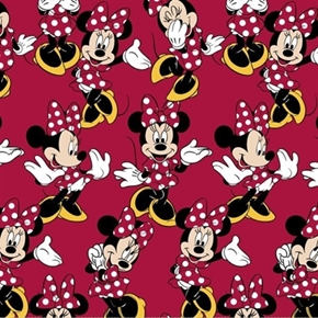 Disney Minnie Mouse Poses In Polka Dot Dress On Red Cotton Fabric