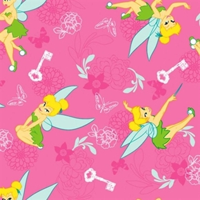Flannel Disney Tink With Key And Butterfly Tinkerbell Cotton Fabric