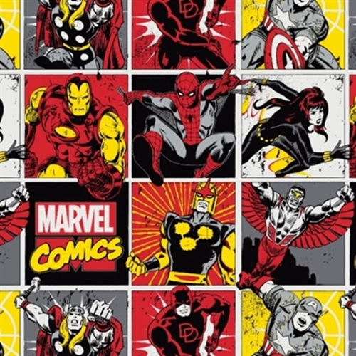 Marvel Immortals Spiderman Thor Captain America Block Cotton Fabric