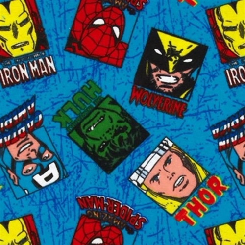 Flannel Hero Portrait Toss Marvel Thor Hulk Blue Cotton Fabric
