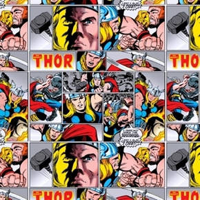 Marvel Comics Thor Comic Strip Cotton Fabric