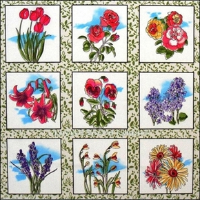 Picture of Flower Blocks Rose, Tulip, Lilac, Daisy, Pansy 24x22 Cotton Fabric