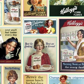 Picture of Kellogg's Ladies Ad Patch Vintage Cereal Ads Cotton Fabric