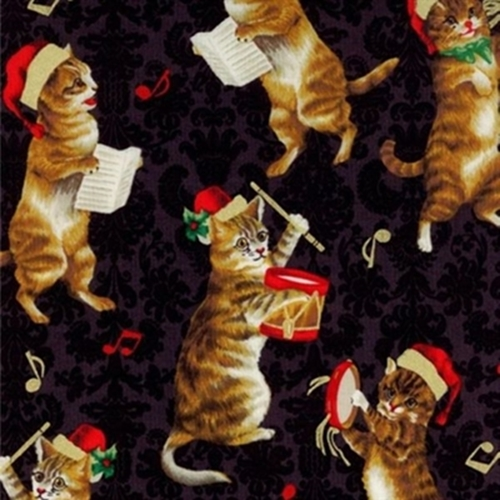 Christmas Kitties Cats Musical Singing Dancing Black Cotton Fabric