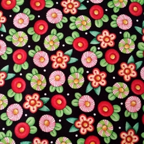 Picture of Trimming the Tree Mary Engelbreit Candy Flowers Black Cotton Fabric