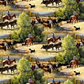 Wild Wings Sagebrush Cowboy Herding Cows Cotton Fabric