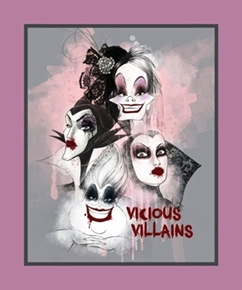 Disney Vicious Villains Female Villain Large Cotton Fabric Panel