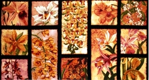 Oriental Traditions Orchid Crimson 24X44 Large Cotton Fabric Panel