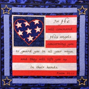Military Soldiers Prayer Psalm 9111 Heart Cotton Fabric Pillow Panel