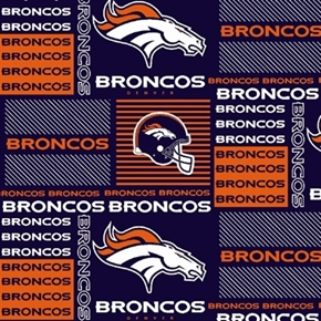 Nfl Football Denver Broncos Squares 18X29 Cotton Fabric