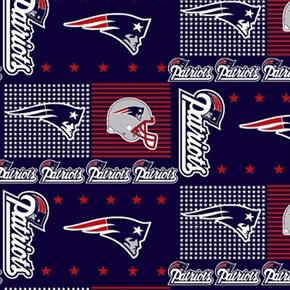 Picture of NFL Football New England Patriots Squares 18x29 Cotton Fabric