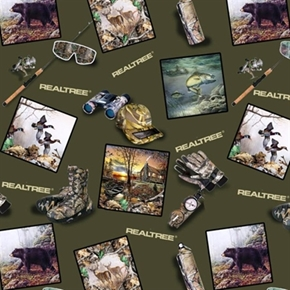Realtree Hunting Gear With Scenic Squares Green Cotton Fabric