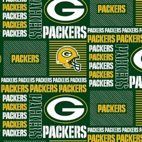 NFL Football Green Bay Packers Squares 18x29 Cotton Fabric