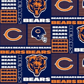 NFL Football Chicago Bears Squares 18x29 Cotton Fabric