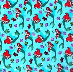 Picture of Flannel Disney Ariel Toss Flounder Sebastian Aqua Cotton Fabric