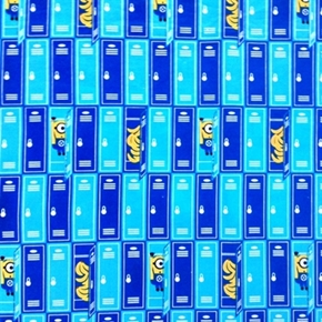 Despicable Me, Minion and Bananas in Lockers Blue Cotton Fabric