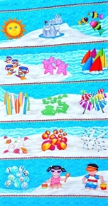 Picture of 1,2,3 Down By The Sea Children Beach Play 24x44 Cotton Fabric Panel