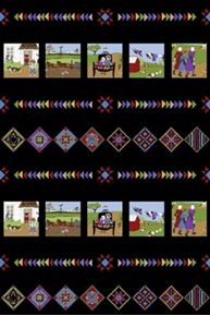 Almost Amish Picture Scene Stripe Black Cotton Fabric