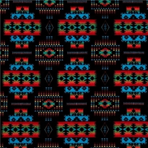 Flannel Tucson Southwest Aztec Red Turquoise On Black Cotton Fabric