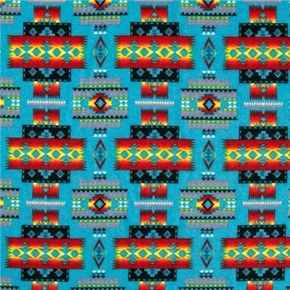 Picture of Flannel Tucson Southwest Aztec Design on Turquoise Cotton Fabric