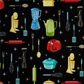 Picture of Kitchen Blender Toaster Mixer Spatula Pot Black Cotton Fabric