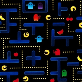 Pocket Arcade Pac Man Video Game On Black Cotton Fabric