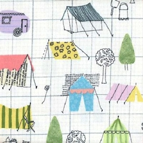 Picture of Flannel Camping Camp Tents on Grid Cotton Fabric